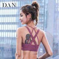 DANENJOY Women Sports Yoga Bra Fitness Running Wear Compression Tops Breathable Yoga Gym Clothing Shockproof Sweat Bra