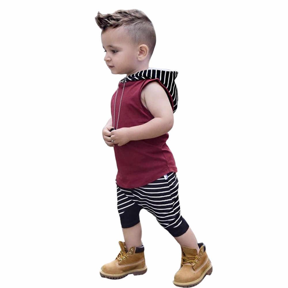 Yürümeye başlayan çocuk yaz giysileri moda çocuk erkek bebek kapşonlu yelek üstleri + şort pantolon 2 adet rahat kıyafetler giysileri bebek giyim seti