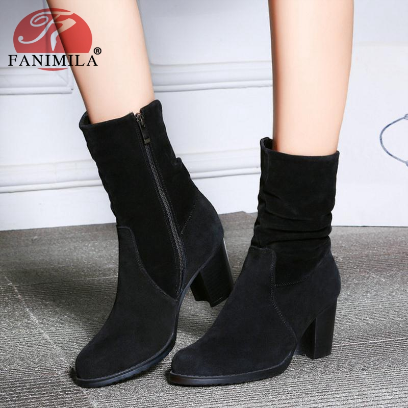 купить FANIMILA Women Winter Boots Real Leather Thick Heels Mid Calf Boots Fashion Simple Woman Shoes Office Ladies Footwear Size 34-39 по цене 2304.44 рублей