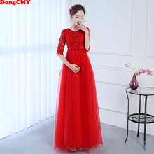 DongCMY New Long Red Color Mother of the Bride Dres