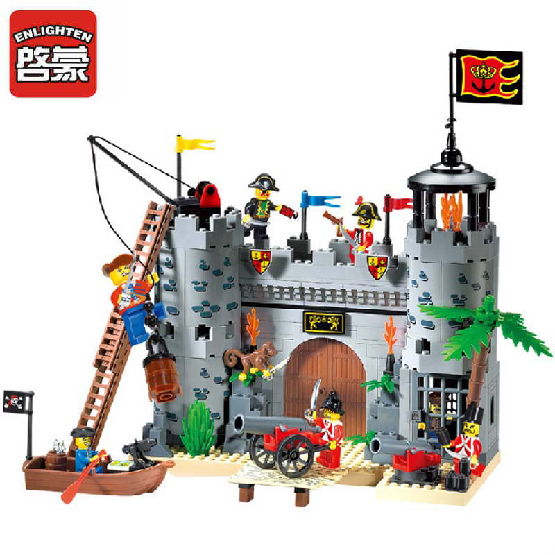 310 ENLIGHTEN Pirate Boat Pirate Castle Robbery Barracks Model Building Blocks Figure Toys For Children Compatible Legoe 1700 sluban city police speed ship patrol boat model building blocks enlighten action figure toys for children compatible legoe