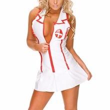 Sexy Nurse Costumes Uniform Erotic Cosplay Nurse Lingerie Women porn babydoll Hot Deep V Neck Dress lenceria erotica mujer