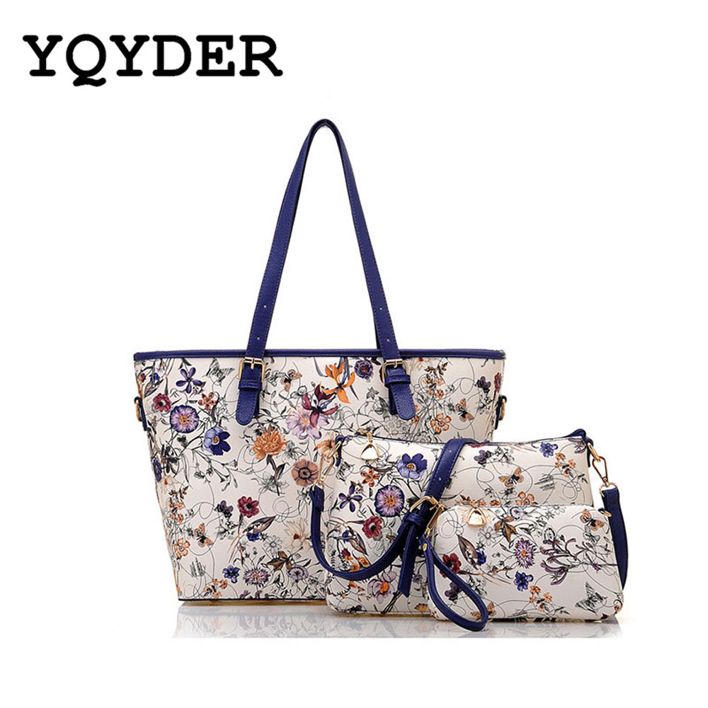 2017  Ladies Tote Bag Flower Printing Handbags Leather Composite Bag For Women 3ps/set Famous Designer Shoulder Bags Bolsa Sac