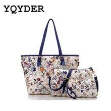 2017  Ladies Tote Bag Flower Printing Handbags Leather Composite Bag For Women 3ps/set famous Designer Shoulder Bags bolsa sac