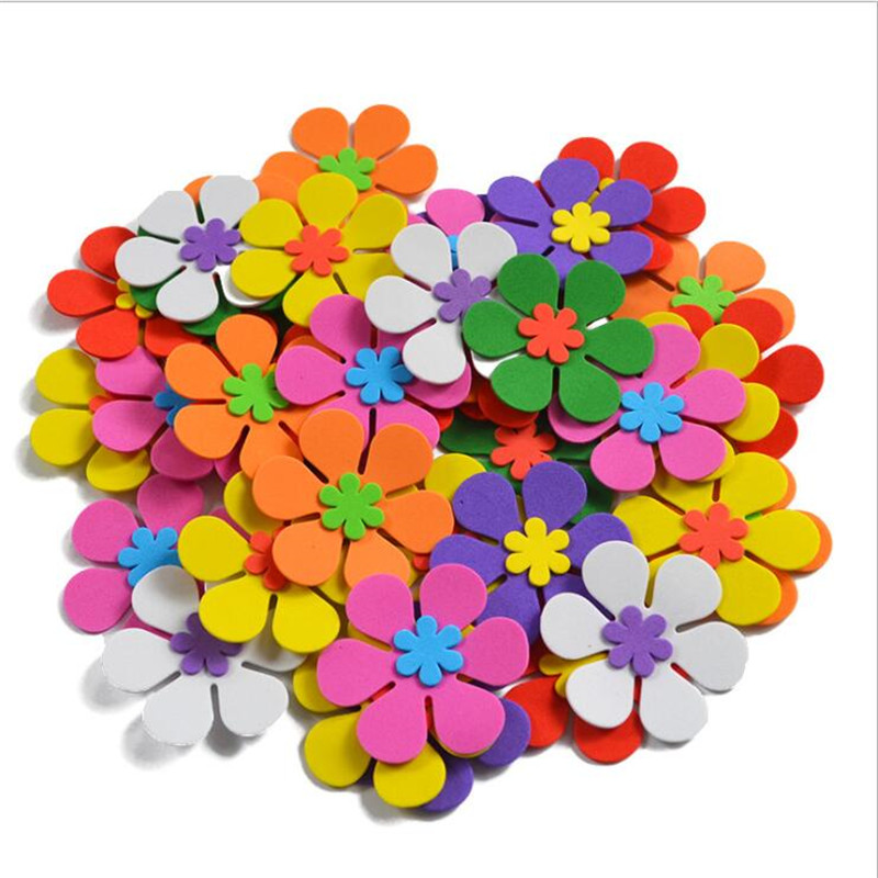 50Pcs/Set Decorative Foam Flowers Foam Sticker For DIY Assorted Colors Kids Room Layout Stickers Decorative DIY Party Decor
