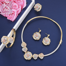 SISCATHY Fashion Jewelry Sets Cubic Zirconia Inlaid Women Collar Necklace Earrings Bangle Resizable Ring boucle d'oreille недорого