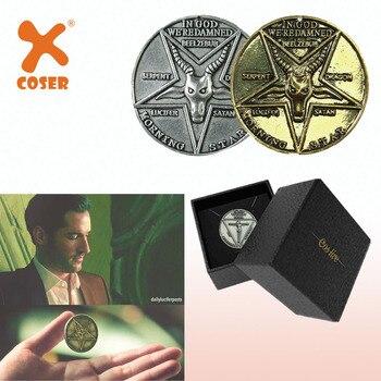 Moneda Pentecostal de Lucifer de X-COSTUME, moneda de plata y oro, accesorios de Cosplay de Festival de alta calidad, accesorio de regalo para seguidores