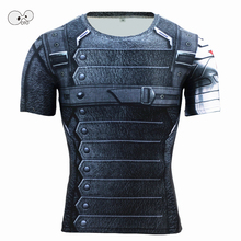 New Short Sleeve Fitness Compression Running Shirt Men Superhero Captain Winter Soldier Bodybuilding Skin Tights Tshirt Top Tees
