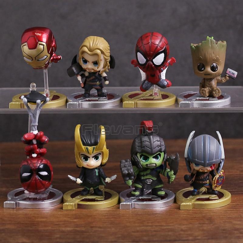 Avengers Infinity War Spiderman Iron Man Loki Thor Hulk Tree Man Super Heroes Mini PVC Figures Toys 8pcs/set 8pcs set super heroes thor topaz heimdall surtur valkyria executioner loki legoinglys building block toys for children x0185