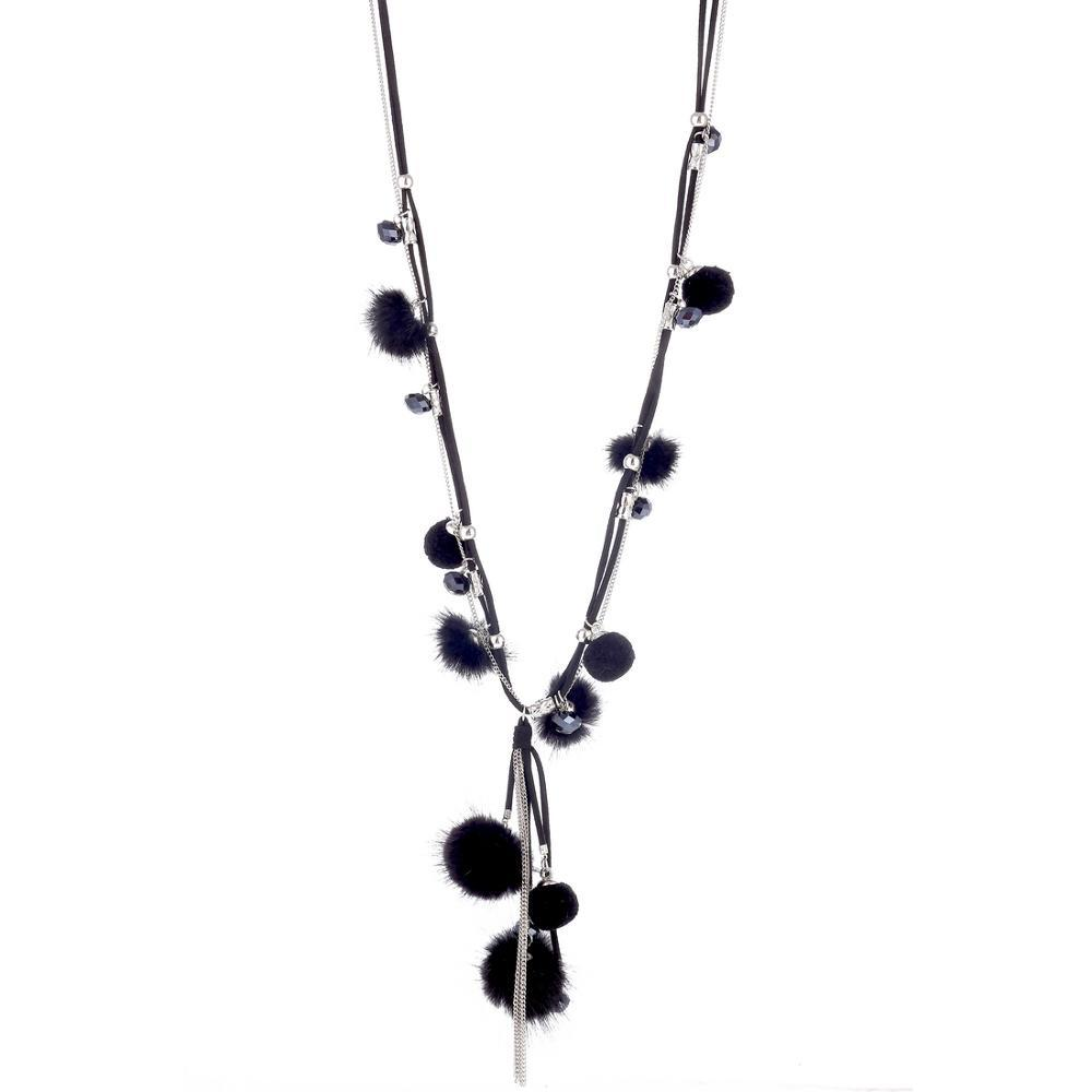 Top Quality Hand Made Mink Fur Ball Necklaces For Women Winter Sweater Chain Black Crystal Long Statement Necklace 2019 Jewelry