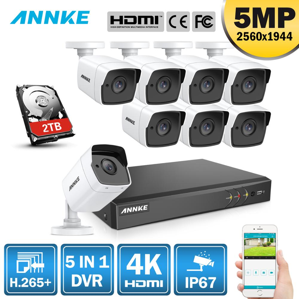 ANNK H 265 5MP Ultra HD 8CH DVR CCTV Security System Outdoor 5MP EXIR Night Vision