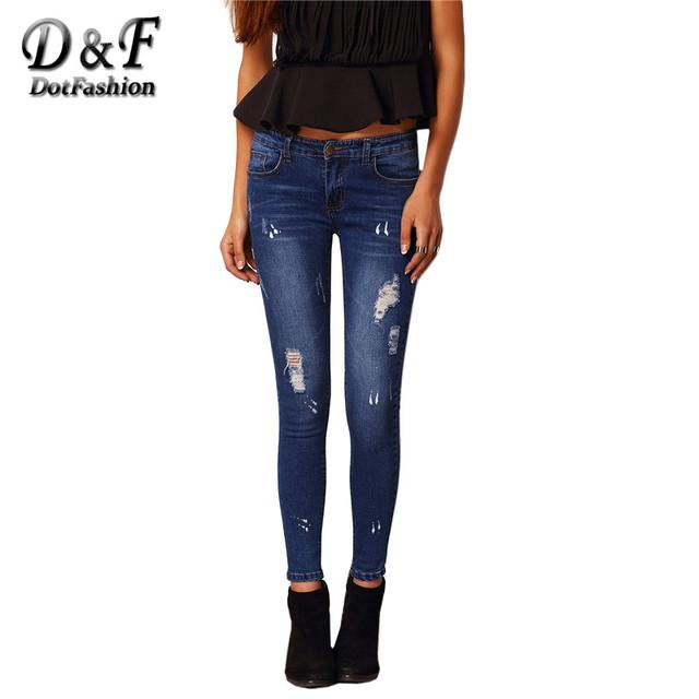 2016 Skinny Ripped Denim Jeans Mulheres Marca High Street Designer Vintage Cintura Baixa Azul Magro Calças Compridas
