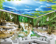 beibehang Environmental Personality papel de parede Wallpaper Waterfall Water Forest Crane Dove House Background Wall Painting
