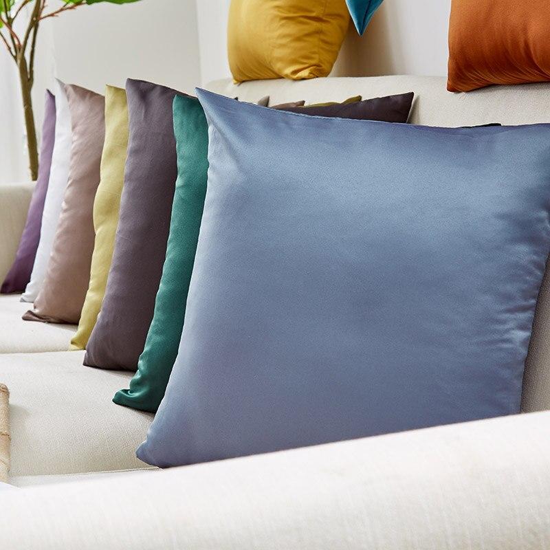 Silk Pillowcase Bedroom Pillow Case Summer Zipper Pillow Cover 45*45 Bedroom Poszewka Nordic Home Solid Color Living Room