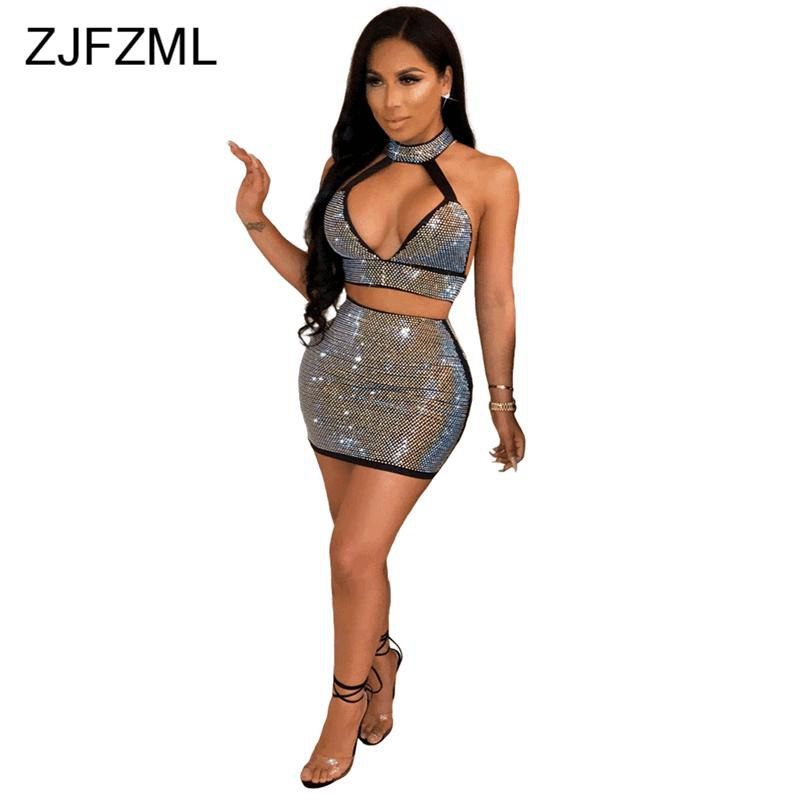 ZJFZML Shiny Sequined Sexy Club 2 Piece Set Women Halter Low Cut V Neck Backless Crop Tops and High Waist Mini Pencil Skirt