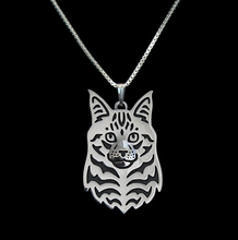 Gold & silver 1pcs Maine Coon Necklace 3D Cut Out Puppy Dog Lover Pendant Memorial Necklaces Pendants Christmas Gift