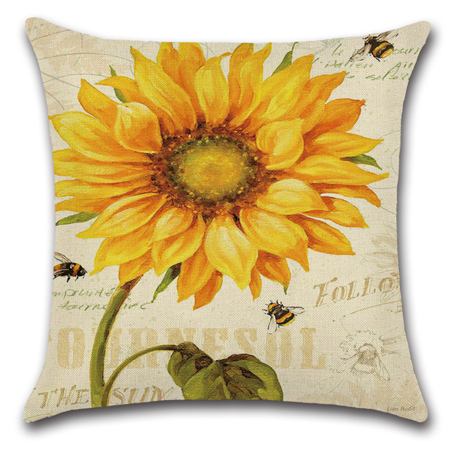 Image 5 - Plant Flower Letter Cushion Cover Set Oil Paiting Sunflower Pillowcase 45x45 for Car Sofa Living Room Decoration Custom Made-in Cushion Cover from Home & Garden