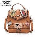 W.D POLO PU кожа женщины печать рюкзак высокая chic дизайн бренда леди сумка легко соответствия можно использовать как мешок руки горячей M2765