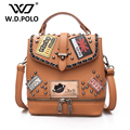 W.D POLO PU leather women stamp backpack high chic brand design lady shoulder bag easy matching can be use as hand bag hot M2765