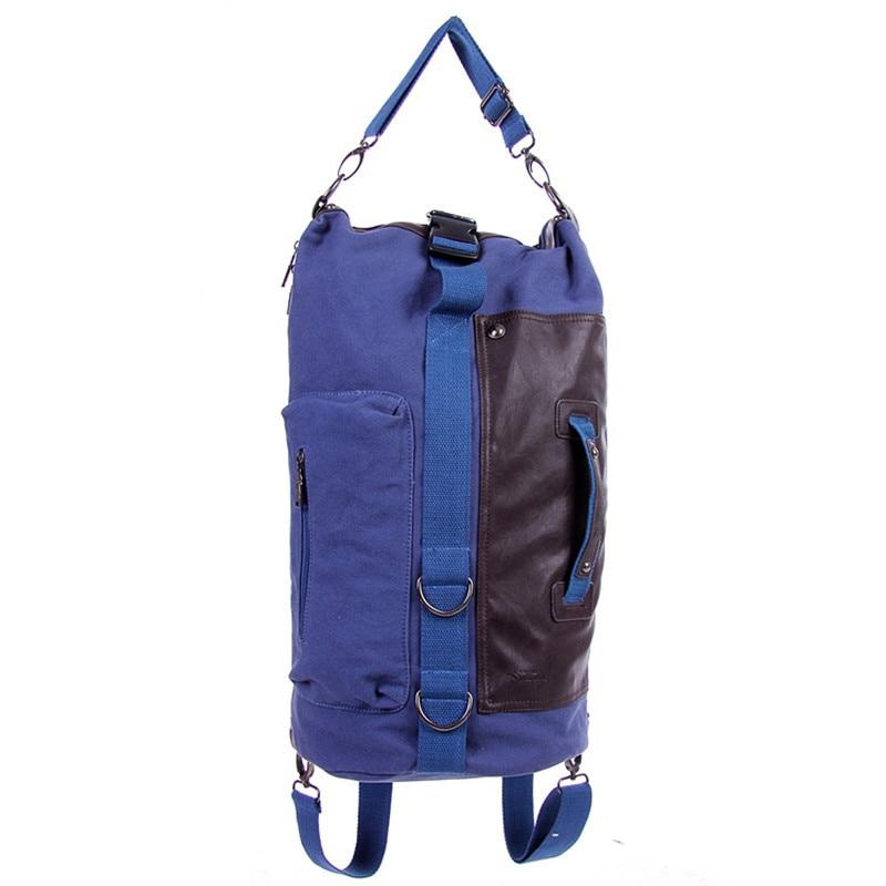 Men's backpack men canvas bag college middle school student bag leisure travel computer bag cylinder design male backpack