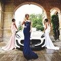 2016 New Sexy Azul Marinho Lace Lantejoulas Sereia Formal Longo Da Dama de honra Vestidos de Dama De Honra Para A Festa de Casamento Custom Made
