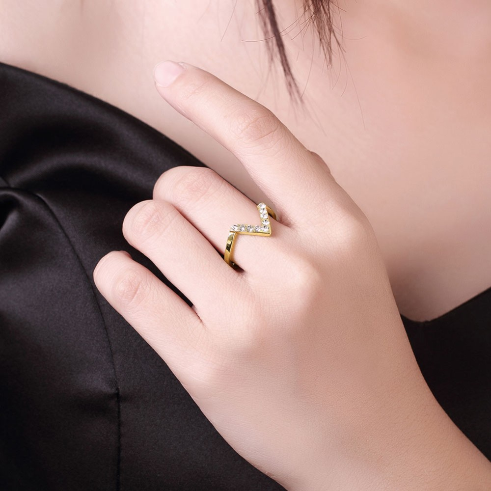 Gold Color Women Ring For women With Letter V Shape Stellux Top ...