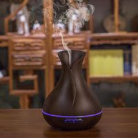 Home Aroma Essential Oil Diffuser Ultrasonic Air Humidifier With Wood Grain 7 Colors Changing LED Lights