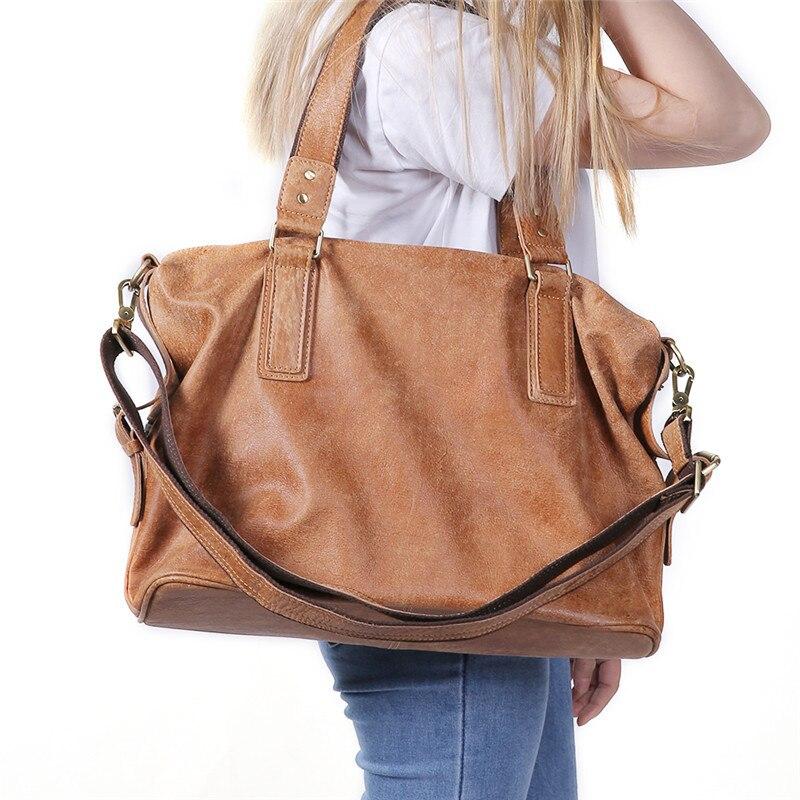 Nesitu Large Capacity Black Brown Coffee Genuine Leather Women Handbags 14 Laptop Shoulder Bag Totes Female