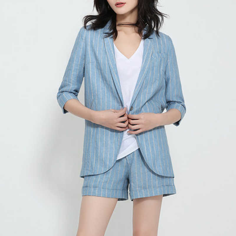 Work Short Pant Suits OL 2 Piece Sets For Women 2019 Summer Autumn blazer femme Elegant Striped Blazer Women's Jacket Streetwear