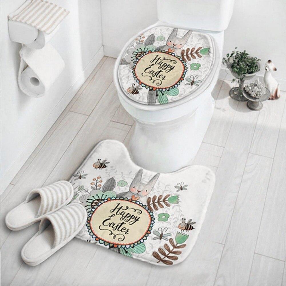 OUTAD 2 In 1 Cute Cartoon Rabbit Animal Pattern Bathroom Set Carpet Absorbent Non-Slip Pedestal Mat Rug Lid Toilet Cover Mat