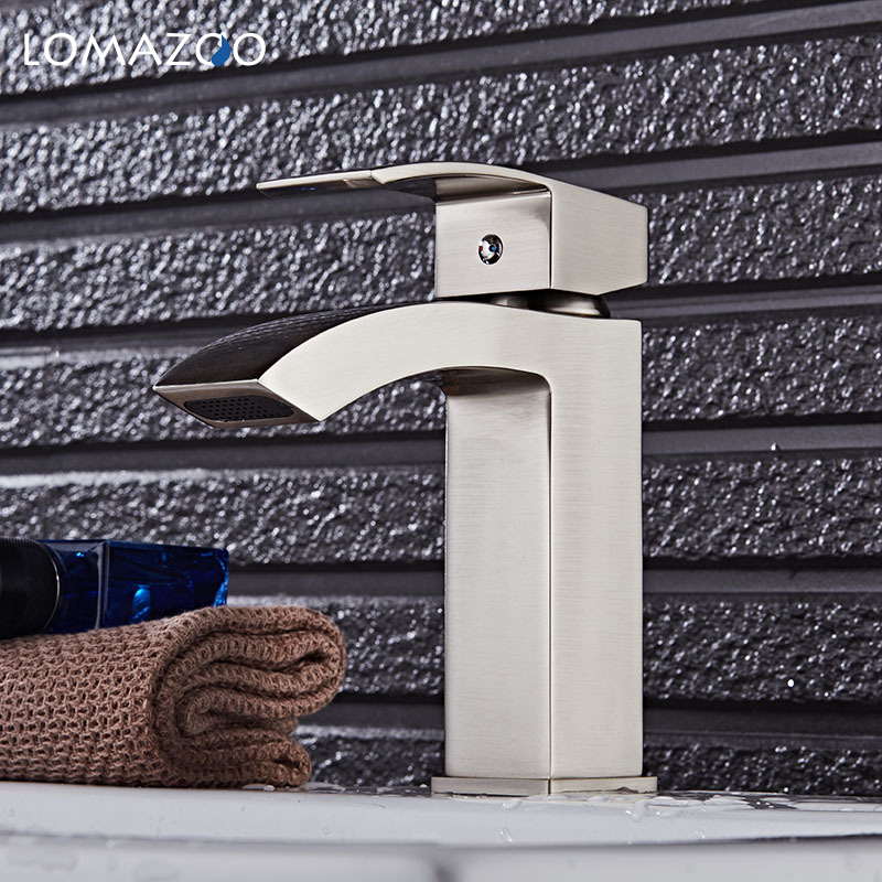 LOMAZOO Kitchen Faucet Bathroom Sink Faucet Waterfall Faucet Single Handle Brass Rotate mixer dual sink rotation