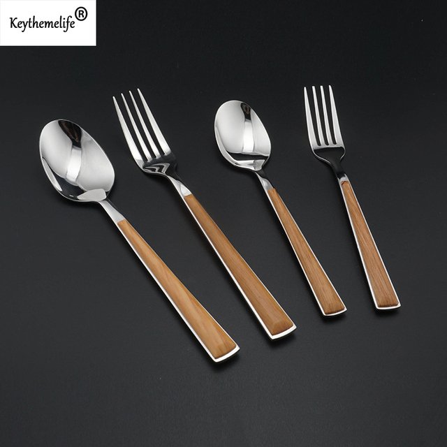 2pcs Set Stainless Steel Wooden Handle Korean Dinnerware Fork Scoops Wedding Silverware Dining