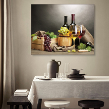 Laeacco Canvas Calligraphy Painting Wine Grape Fruit Posters and Prints Wall Art Picture for Living Room Dining Home Decor