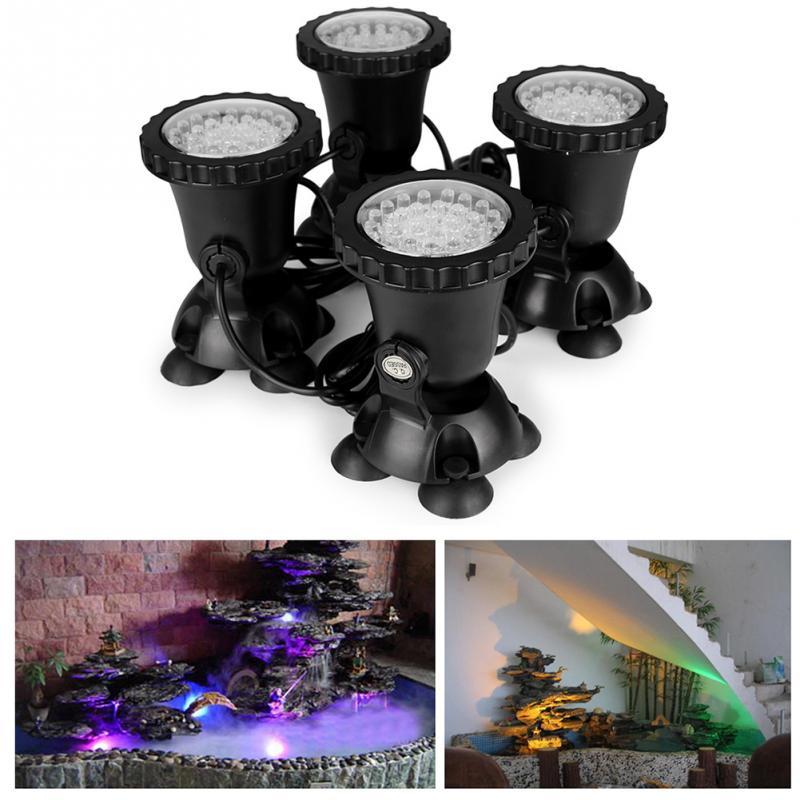 2019 New Style 1pcs High Quality 4pcs Underwater Garden Fountain Fish Tank Pool Pond 36led Spot Light New For Eu Plug White Lights & Lighting