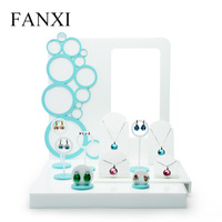 FANXI Blau traum acryl material vollständigen satz von schmuck-display schaufenster rahmen Schmuck ausstellungsstand Schmuck Halter