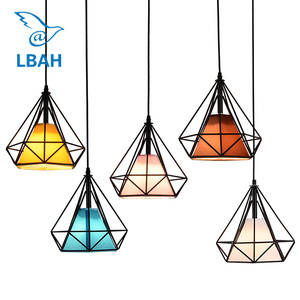 Free with led bulb colorful birdcage pendant lights iron retro light oft pyramid lamp metal cage with VDE best wire and holder