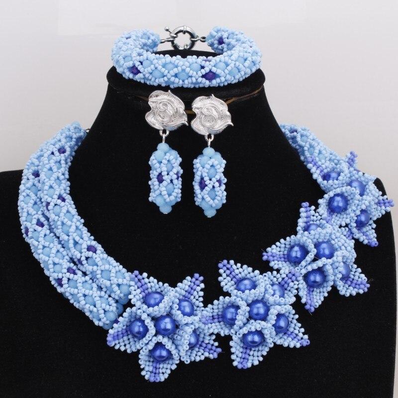 4 ubijoux 18.8 pouces bleu collier de mariage africain ensemble pour les femmes fabriqué en chine nigérian perles bijoux ensemble 2 rangées Multi couleur