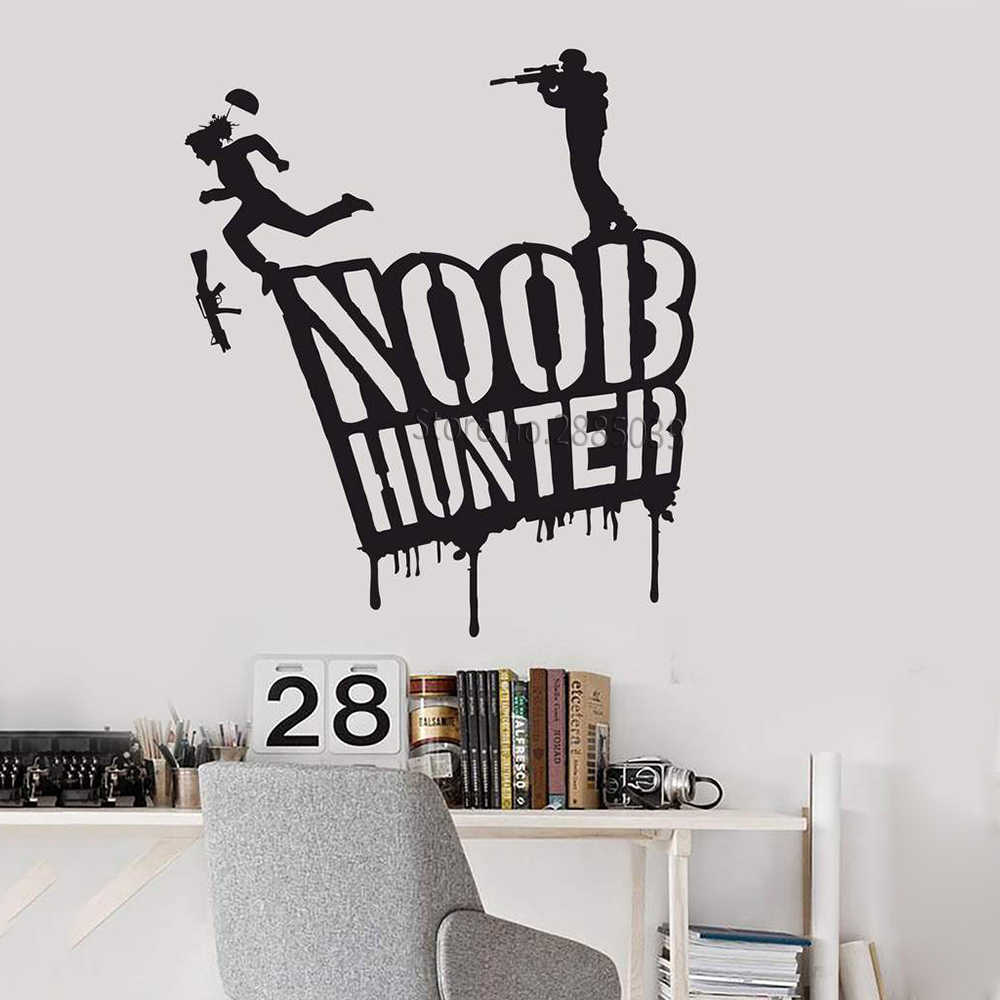 Noob Hunter Murals Vinyl Wall Decal Gamer Shooting Video Game Wall Stickers Art Home Wall Decor Gaming Room Gaming Decals Lc1032 Wall Stickers Aliexpress