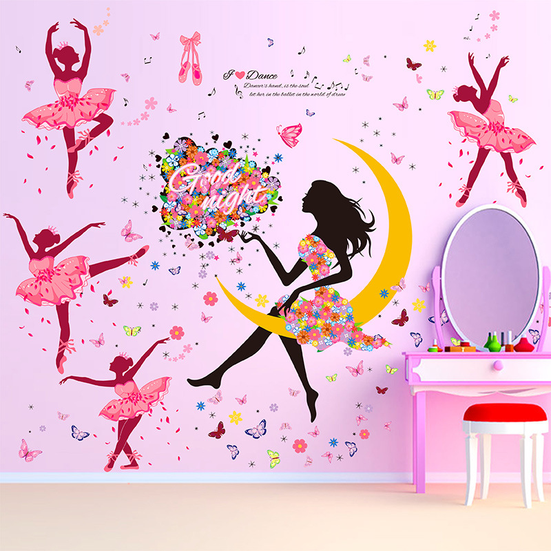 product DIY Wall Sticker Butterfly Wall Decals Ballet Girl Poster Stickers for Home Decor Living Room Wall Decoration adesivo de parede