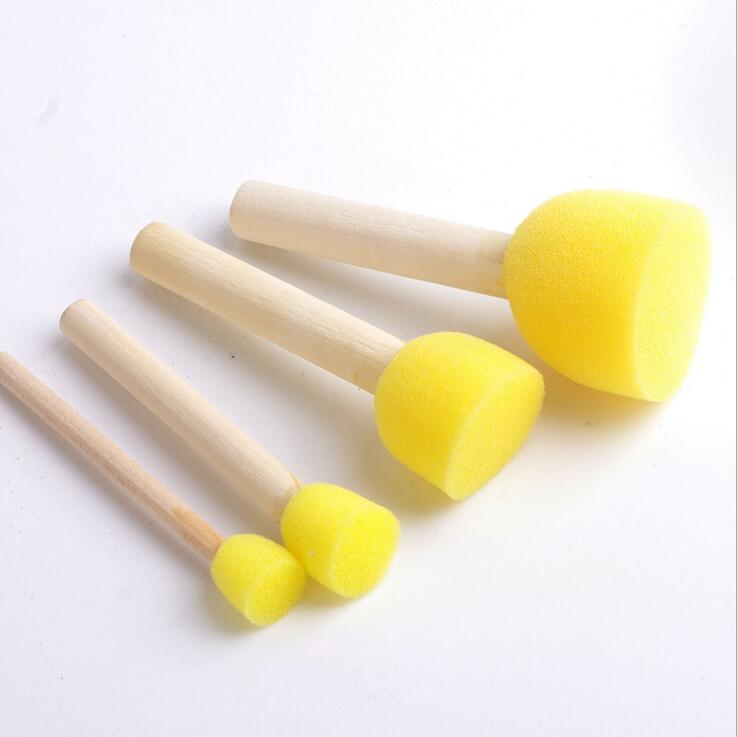 2019 4pcs Sponge Paint Brushes Toys Wooden Handle Seal Sponge Brush Kids Children Drawing Painting Brush