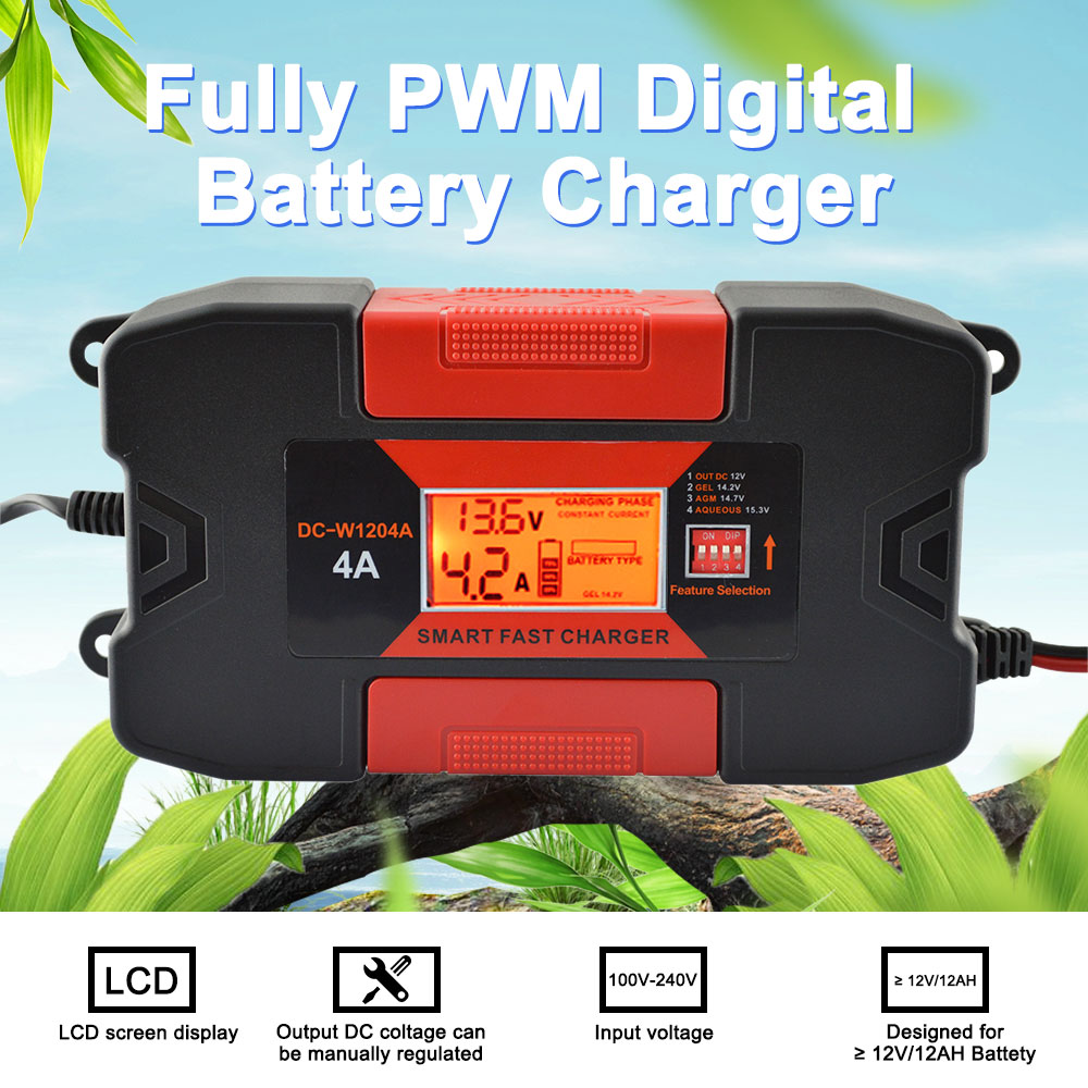4A 12V Auo Smart Car Battery Charger With CE RoHs Fully PWM Digital Battery Charger ...