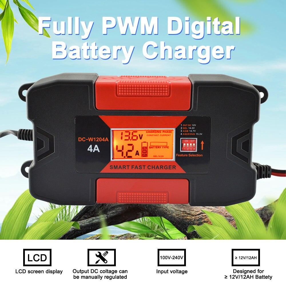 4A/6A 12 V Auto batería de coche inteligente con CE RoHS totalmente PWM cargador de batería Digital