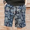 2017 мужские лето цветочный печати Колен шорты мужские тонкий пляж шорты мужские льняные свободные вне случайные шорты