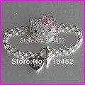 10pcs Pretty rhinestone hello kitty chain bracelet charm bracelet for kid
