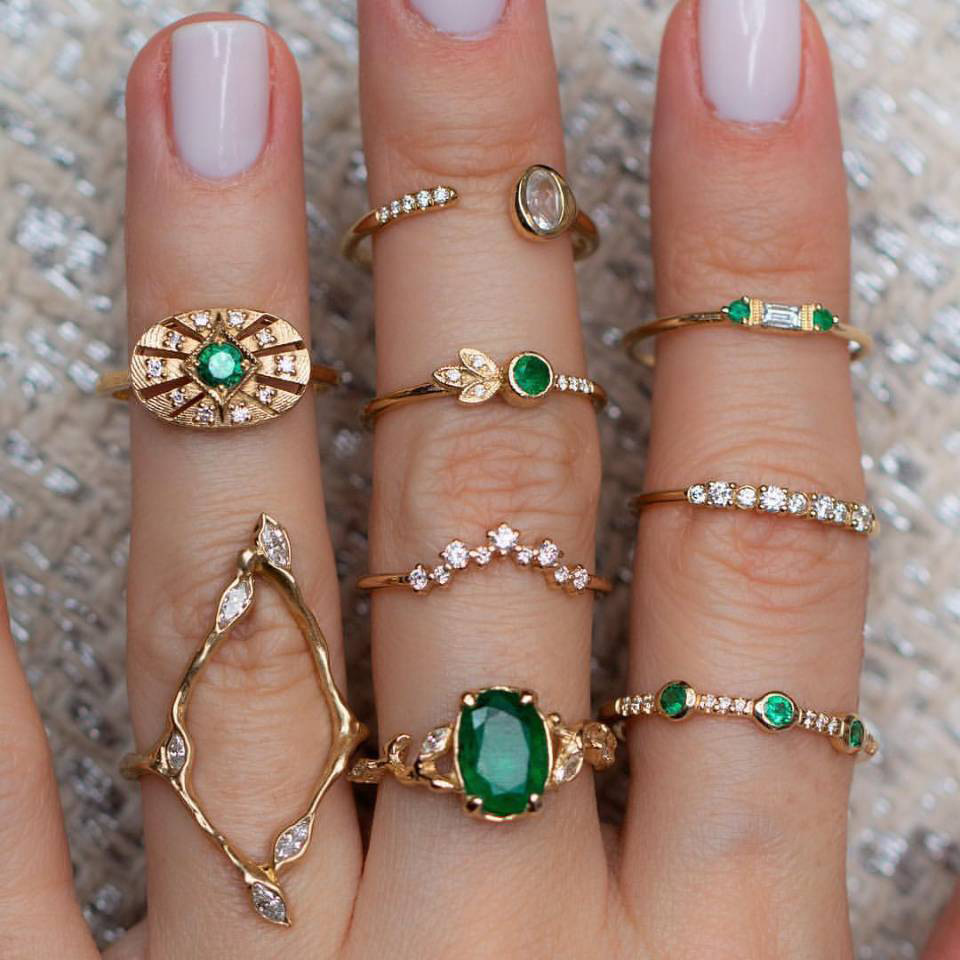 Stacking-Rings Ring-Set Jewelry Gift Green-Stone Girl Women for Collection