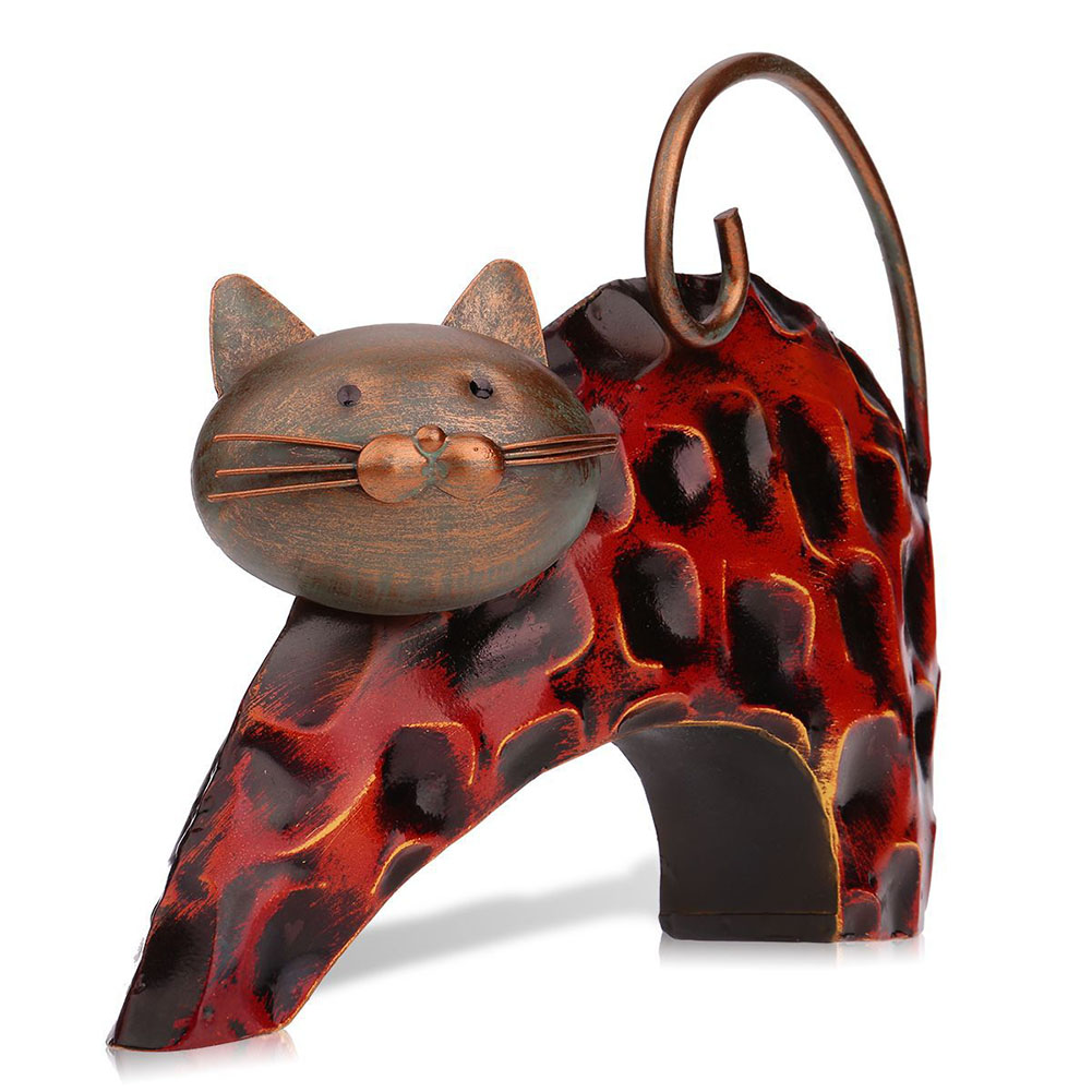 Metal Cat Figurine Abstract Animal Sculpture Iron Art Craft Home Decoration Kids Gift J2Y