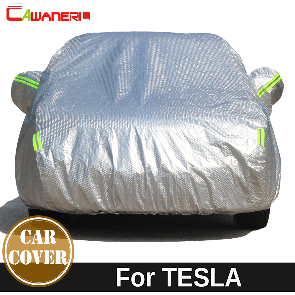 Cawanerl For TESLA MODEL S X Thicken Cotton Car Cover Sun Shade Anti-UV Snow Hail Rain Protection Auto Cover Waterproof buildreamen2 waterproof car cover sunshade sedan hatchback anti uv sun rain snow hail protective thicken cotton car covers