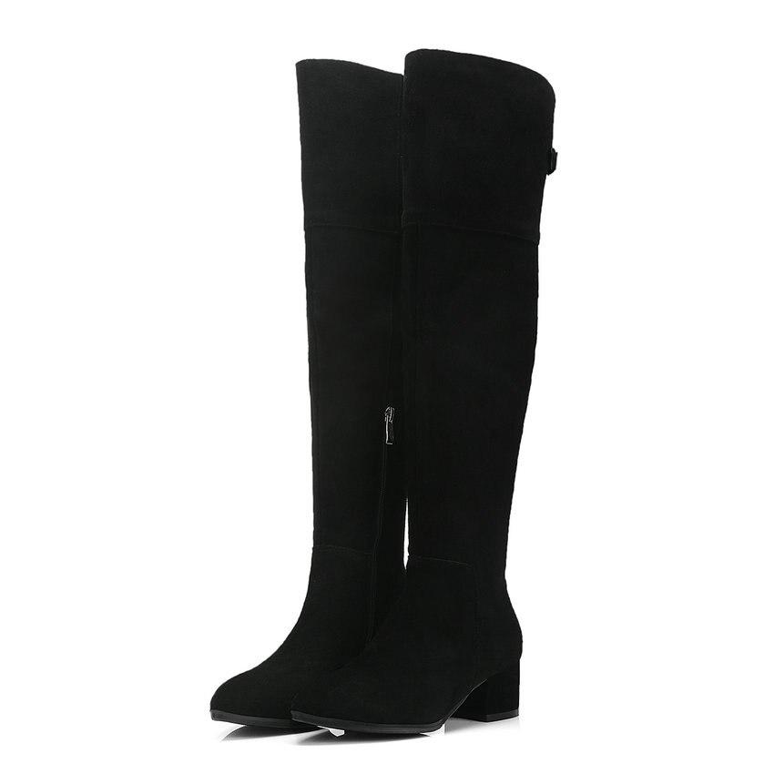 39 Sur Noir Mode Nesimoo Haut Bout Bottes Chaussures Suède Genou Femmes Vache 2019 Éclair Pointu 34 Fermeture D'hiver Taille Le AxpqUw