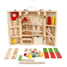DIY Wooden Multifunction Portable Tool Box Combination of Child Set Puzzle Home Disassembly  Childrens Educational Toys
