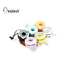 KEEKA Donuts Macarons Cute Wired Earphone Candy Color girl earphones case storage box in-ear for smartphone mp3 portable headset